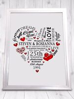 CS Wedding Anniversary Gift Print Heart - Many Years Available - A4 High Quality