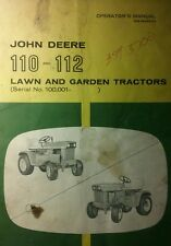 John Deere 110 112 Lawn Garden Tractor Owners Manual Riding Square (sn 100,000