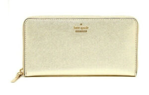 NWT Kate Spade Cameron Street Lacey Leather Zip Around Wallet Gold NEW PWRU5073