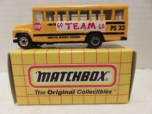 1993 Matchbox Original MB47 School Bus Go Team Go Oaklyn Middle School Die-Cast
