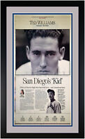 """Ted Williams """"The Kid"""" Original Newspaper Cover Matted & Framed July 6 2002"""