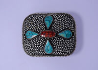 Sterling Silver Belt Buckle Leather belt Turquoise Coral Stone waist trap  03B