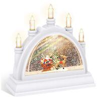 Christmas Snow Globe Lantern with Swirling Water Glittering - Arch Bridge