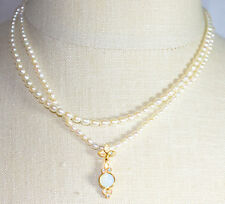 JOAN RIVERS Freshwater Pearl Necklace with Opalescent Enhancer Necklace