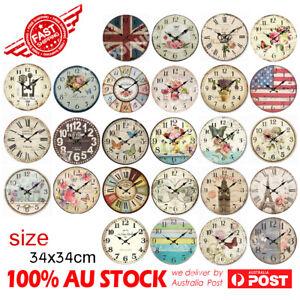 30 / 34cm Rustic Vintage Wall Clock Coloured Stylish Design Art Sculpture Boards