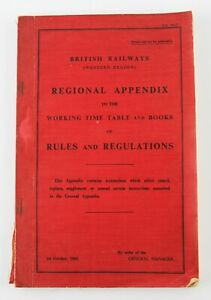 British Railways Western Region Regional Appendix of Rules & Regulations 1960