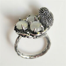 Vintage 925 Silver Moonstone Bird Ring Men Women Wedding Jewelry Gift Size 6-10