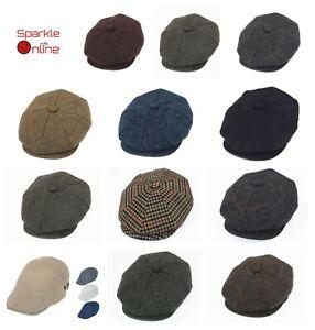Classic Peaky Blinders Baker Boy Hat Newsboy Cap Plain Herringbone Tweed Wool