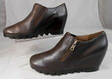 Aerosoles AERIAL Womens Wedge Heels 8 M Leather Heelrest Booties Side Zip Brown