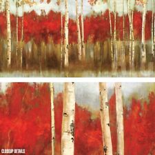 """48W""""x24H"""" THE EDGE by ALLISON PEARCE - VIVID AUTUMN RED TONE BIRCH FOREST CANVAS"""