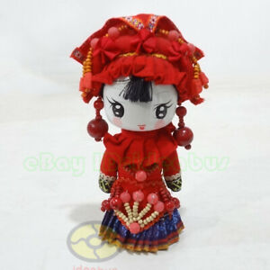 "Chinese Yi Ethnic Minority Q-Doll Headwear Beauty Girl Figurine Doll (tall 8"")"