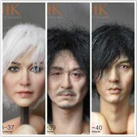 KUMIK 1/6 Head Sculpt Carving Model 3 Styles KM18-37/39/40 Fit 12'' Body Figure