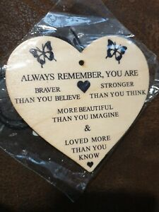 Mini Hanging Wooden Plaque with Inspirational Quote for Women Brave Strong Loved