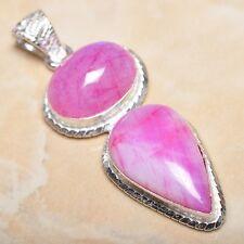 "Handmade Cherry Ruby Natural Gemstone 925 Sterling Silver Pendant 2.5"" #P13007"
