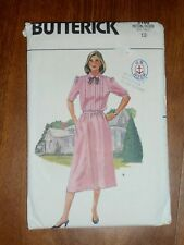VINTAGE 1985 BUTTERICK PATTERN #3100 - RETRO SHIRT DRESS - MISSES 12 - UNCUT
