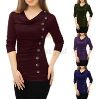 UK Womens Casual Cowl Neck Solid Tops Shirt Long Sleeve Buttons Pullover Blouse