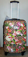 """NWT CHARIOT 26"""" LEOPARD FLORAL HARDCASE SPINNER ROLLING SUITCASE LUGGAGE W/ LOCK"""