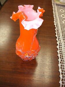 "Art Glass Vase - Hand Blown Bright Orange 8 1/2"" x 3 1/2"" - Very Good Condition"