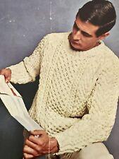 M25a Knitting Pattern - Men's 3-ply Bainin Aran Crew Neck Jumper