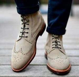New Pure Handmade Beige Suede Leather Lace up Ankle Boots for Men's