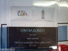 New Cynthia Rowley 2 Standard Pillowcases 100% Cotton White with London Theme