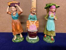 Antique ~ Vintage ~ Original ~ Italy ~ Nativity Figures ~ 3 Working Women Lot
