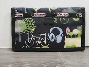 LE SPORTSAC - TRIFOLD WALLET BLACK WITH CATS BIKES TREES TRUCK CLOUDS SCOOTERS