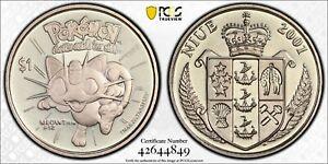 NIUE RARE 1$ UNC COIN 2001 YEAR KM#156 POKEMON MEOWTH PCGS GRADING MS66 POP🥇