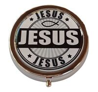 Jesus Silver Three Compartment Pocket/Purse/Travel Pill Box Case