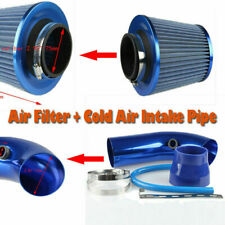 """75mm 3"""" Cold Air Intake Filter Pipe Filter Tube Hose Blue Fuel Save Power"""