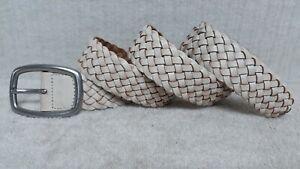 FOSSIL - Women's Belt - OFF WHITE CREAM Leather - BRAIDED DESIGN - Size M