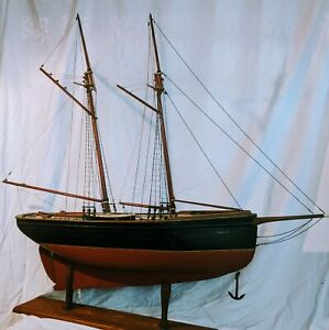 "48"" Antique Museum Wooden Schooner Ship Model Pond Yacht-Lead Keel, Bone details"