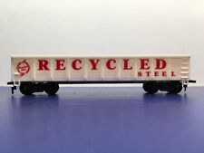 """Ho Scale """"Recycled Steel"""" 40' Open Gondola Freight Train Car / White Version"""
