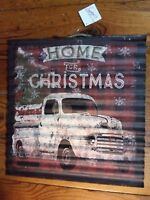Christmas Truck Sign Home Vintage Tree Plaid Corrugated Rustic Metal Tin New