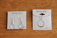 Sterling Silver 925 Infinity Symbol Set Earrings Pendant Necklace