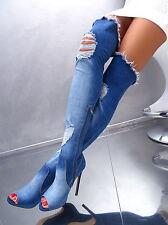 NEU 2017 HOHE Overknee Lang Stiefel Stretch Jeans Boots P98 Schuhe High Heels 40