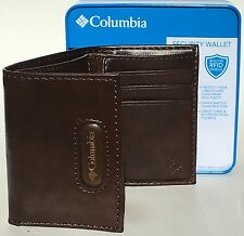 COLUMBIA SPORTSWEAR Mens Built In RFID Shield Security Trifold Wallet Brown New