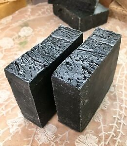 Lot Of 2 Handmade All Natural Soap Bars - Unscented ACTIVATED CHARCOAL