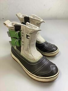 Women's Sorel Brown & Green Leather Rain Boots Size 7