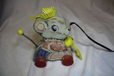 Vintage 1962 Fisher Price Merry Mousewife Pull Toy