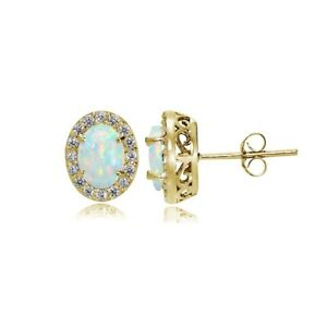 Yellow Gold Flashed 925 Silver Simulated White Opal & CZ Oval Halo Stud Earrings