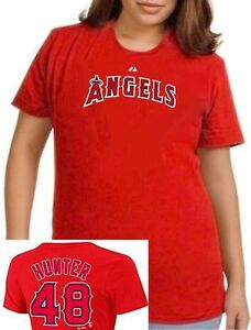 Los Angeles Angels #48 Torii Hunter MLB Majestic Women's Shirt Plus Sizes