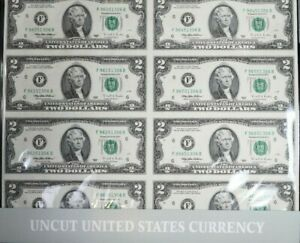 1995 $2 Two Dollars Uncut Sheet Set of 8 , BEP Packaging 99c NO RESERVE