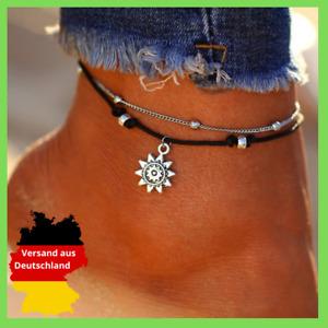 Fusskette Stern Perlen Sonne Design Edles Fußkettchen Kunstleder Fuß schwarz