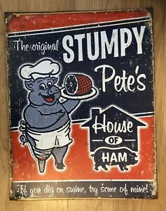 The Original Stumpy Pigs 🐷 Metal Shabby Chic Wall Plaque. Size 22x41cm