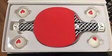DIANE VON FURSTENBERG Red 2 Rackets 4 Balls Ping Pong Table Tennis Box Set