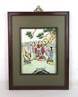 Antique Chinese Famille Rose Export Porcelain Painted Tile Royalty Framed