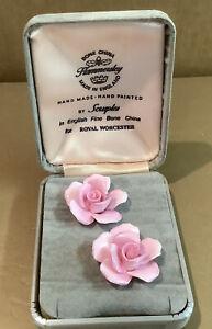 Vintage Hammersley Royal Worcester English Fine Bone China Earings By Scruples