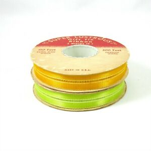 Super Lustrous 2 Spools Vintage Ribbon Easter Spring Yellow Green Gift Tie Bows