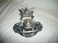ANTIQUE FRENCH ORMOLU SILVER PLATED INKWELL ART NOUVEAU BUTTERFLY PEN REST